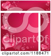 Clipart Of Pink Stripe And Heart Website Banners And Background Royalty Free Vector Illustration