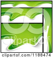 Clipart Of Green And White Mesh Wave Website Banners And Background Royalty Free Vector Illustration
