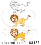 Cartoon Of Happy Male Lions Royalty Free Vector Clipart