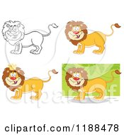 Cartoon Of Happy Lions In Color And Outline Royalty Free Vector Clipart