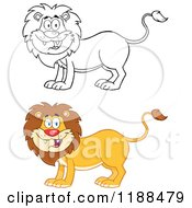 Cartoon Of A Happy Lion In Color And Outline Royalty Free Vector Clipart by Hit Toon