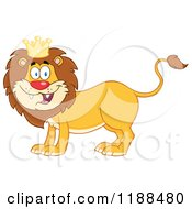 Cartoon Of A Happy Male Lion Wearing A Crown Royalty Free Vector Clipart