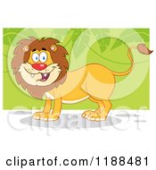 Cartoon Of A Happy Male Lion Smiling Over Green Leaves Royalty Free Vector Clipart by Hit Toon