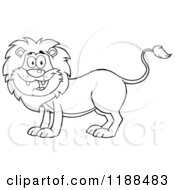 Cartoon Of A Black And White Happy Male Lion Smiling Royalty Free Vector Clipart