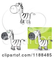 Cartoon Of Cute Happy Zebras Royalty Free Vector Clipart by Hit Toon