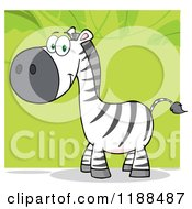 Cartoon Of A Cute Happy Zebra Over Green Leaves Royalty Free Vector Clipart by Hit Toon