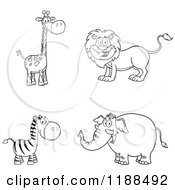 Black And White Happy Giraffe Lion Zebra And Elephant