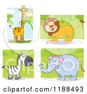 Happy Giraffe Lion Zebra And Elephant Over Foliage
