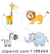 Happy Giraffe Lion Zebra And Elephant