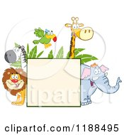 Square Sign And Happy Zoo Animals Over Leaves