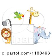 Square Sign And Happy Zoo Animals
