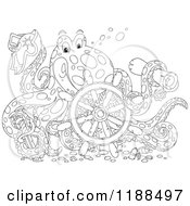 Cartoon Of A Happy Outlined Captain Octopus With A Scroll Hat Sword And Sunken Helm Royalty Free Vector Clipart