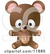Cute Little Brown Teddy Bear Toy Clipart Illustration by AtStockIllustration