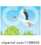 Cartoon Of A Stork Flying Over Trees Royalty Free Clipart