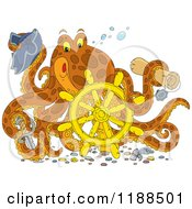 Cartoon Of A Happy Captain Octopus With A Scroll Hat Sword And Sunken Helm Royalty Free Vector Clipart by Alex Bannykh