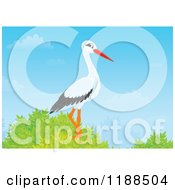 Cartoon Of A Stork Perched In A Tree Royalty Free Clipart