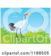 Cartoon Of A Sarus Crane Bird On A Hill Against Blue Sky Royalty Free Clipart