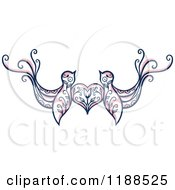 Clipart Of A Pair Of Floral Love Birds With A Heart Royalty Free Vector Illustration
