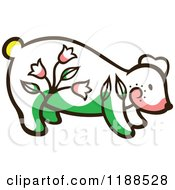 Clipart Of A Cute Floral Bear Royalty Free Vector Illustration by Cherie Reve