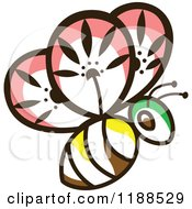 Clipart Of A Floral Bee Royalty Free Vector Illustration by Cherie Reve