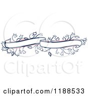 Clipart Of A Pink And Blue Floral Wedding Ribbon Banner Royalty Free Vector Illustration