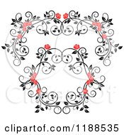 Clipart Of A Red Rose And Black And White Foliage Arch Border And Frame Royalty Free Vector Illustration