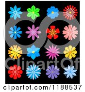 Clipart Of Colorful Flowers On Black Royalty Free Vector Illustration