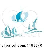 Clipart Of Blue Regatta Sailboats 4 Royalty Free Vector Illustration