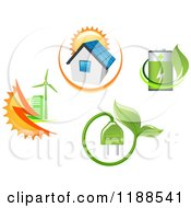 Clipart Of Green Energy Utility Icons Royalty Free Vector Illustration