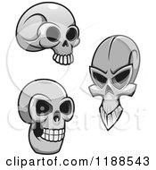 Clipart Of Grayscale Skulls Royalty Free Vector Illustration