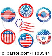 Clipart Of Round American Stars And Stripes Labels Royalty Free Vector Illustration