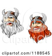 Clipart Of Red And White Haired Viking Warriors With Long Beards Royalty Free Vector Illustration by Vector Tradition SM