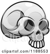 Clipart Of A Grayscale Skull Royalty Free Vector Illustration