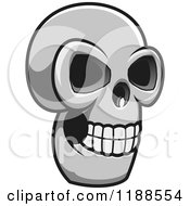 Clipart Of A Grayscale Skull 2 Royalty Free Vector Illustration