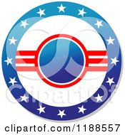Clipart Of A Round American Stars And Stripes Label 3 Royalty Free Vector Illustration