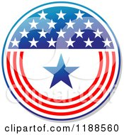 Clipart Of A Round American Stars And Stripes Label 6 Royalty Free Vector Illustration
