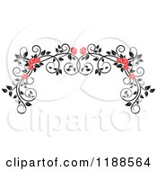Clipart Of A Red Rose And Black And White Foliage Arch Border Royalty Free Vector Illustration
