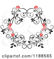 Clipart Of A Red Rose And Black And White Foliage Frame Royalty Free Vector Illustration
