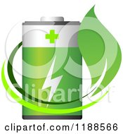 Clipart Of A Green Battery And Leaf Royalty Free Vector Illustration