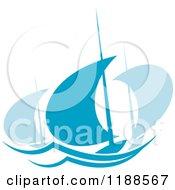 Clipart Of Blue Regatta Sailboats Royalty Free Vector Illustration