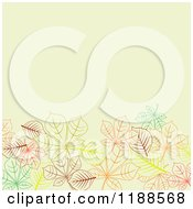 Clipart Of A Green Background With Copyspace And Sketched Autumn Leaves Royalty Free Vector Illustration