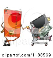 Clipart Of A Happy Credit Card With A Cart Full Of Electronics Royalty Free Vector Illustration