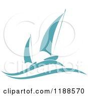 Clipart Of Blue Regatta Sailboats 3 Royalty Free Vector Illustration