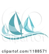 Clipart Of Blue Regatta Sailboats 2 Royalty Free Vector Illustration
