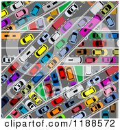 Clipart Of An Aerial View Down On Congested Traffic Roads Royalty Free Vector Illustration by Vector Tradition SM