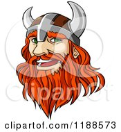Clipart Of A Red Haired Viking Warrior With A Long Beard Royalty Free Vector Illustration
