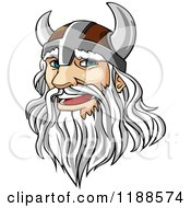 Clipart Of A White Haired Viking Warrior With A Long Beard Royalty Free Vector Illustration