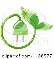 Clipart Of A Green Leaf And Electrical Plug Royalty Free Vector Illustration