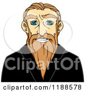 Clipart Of A Happy Senior Man With A Long Beard Royalty Free Vector Illustration