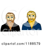 Clipart Of Happy Senior Men With Long Beards Royalty Free Vector Illustration by Vector Tradition SM